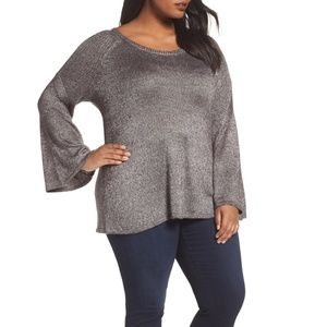Sejour Silver Metallic Bell-Sleeve Sweater